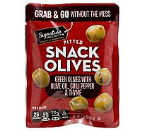Signature Select Olives Snack Pitted Green Chili - 1.05 Oz