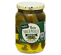 Signature Select Pickle Snack Kosher Dill Petite - 16 Fl. Oz.