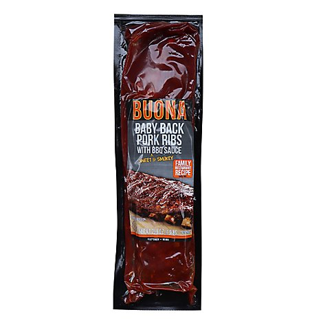 Buona Pork Baby Back Ribs With Bbq Sauce - 25.6 Oz