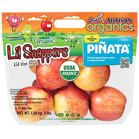Apples Pinata Organic Prepacked - 3 Lb