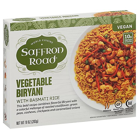 Saffron Road Frozen Entree Halal Vegetable Biryani Medium Heat - 10 Oz