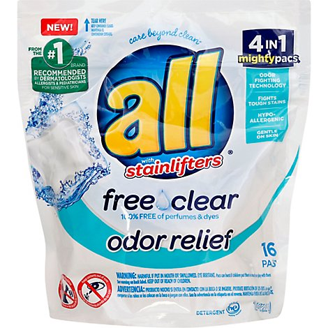 all Laundry Detergent Liquid Free Clear Odor Relief Mighty Pacs - 16 Count
