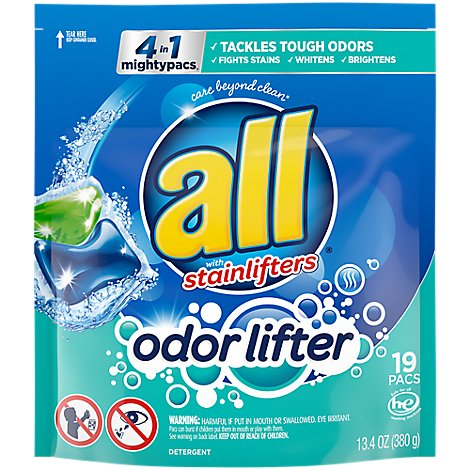all Laundry Detergent 4 In 1 Mightypacs Stainlifters Odor Lifter - 13.4 Oz