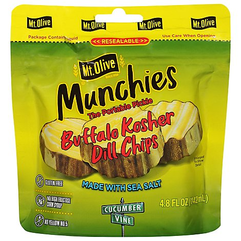 Mt Olive Buffalo Kosher Dill Chips In Pouches - 4.8 Fl. Oz.