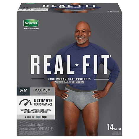 Depend Underwear Real Fit Max Abs S/M For Men 14 - 14 Count