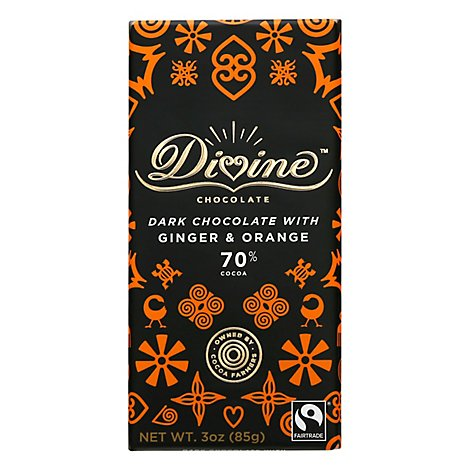 Divine Ch Choc Bar Drk Gngr Orange - 3 Oz