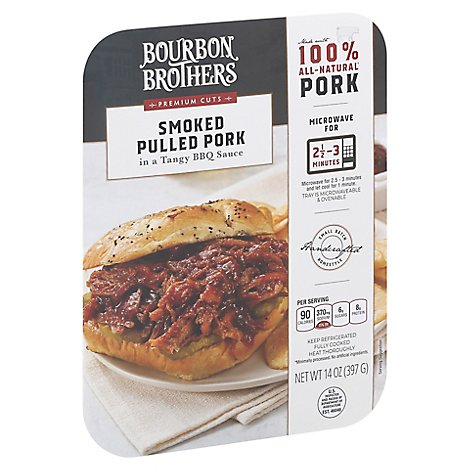 Bourbon Brothers Pulled Pork Smoked With BBQ Sauce All Natural - 14 Oz