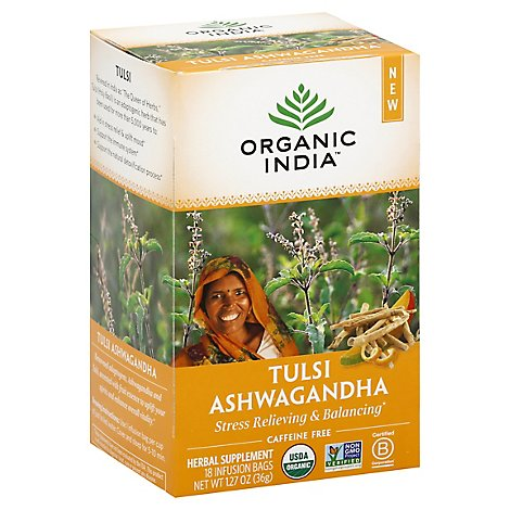 ORGANIC INDIA Herbal Supplement Tea Tulsi Ashwagandha 18 Count - 1.27 Oz