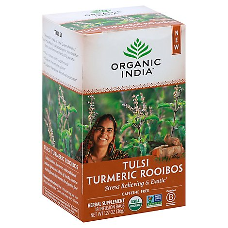 ORGANIC INDIA Herbal Supplement Tea Tulsi Turmeric Rooibos 18 Count - 1.27 Oz