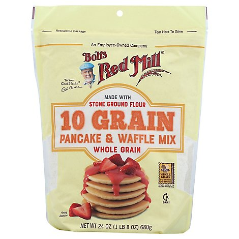 Bobs Red Mill Pancake & Waffle Mix 10 Grain Whole Grain Pouch - 24 Oz