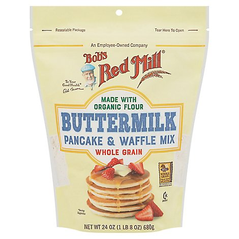 Bobs Red Mill Pancake & Waffle Mix Buttermilk Whole Grain - 24 Oz