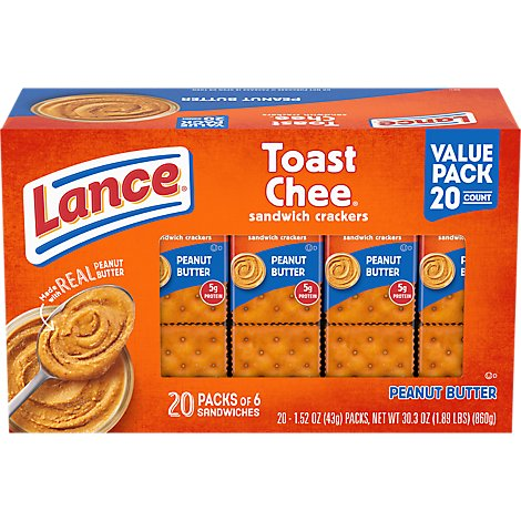 Lance Toastchee Family Size Sandwich Cracker 20 Count - 30.3 Oz