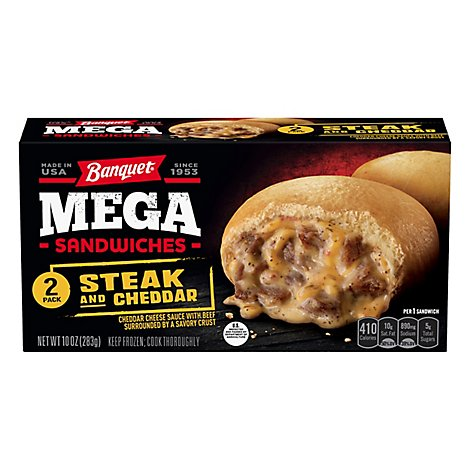 Banquet Mega Sandwiches Steak & Cheddar 2 Count - 10 Oz