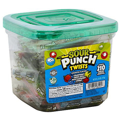 Sour Punch Twists 4 Flavor Jar - 2.59 Lb