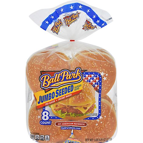 Ball Park Giant Seeded Hamburger Buns - 18.25 Oz