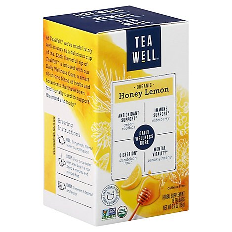 Tea Well Honey Lemon Herbal Supplement - 16 Count