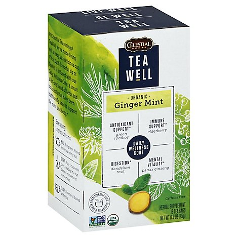 Celestial Tea Well Herbal Supplement Ginger Mint - 16 Count