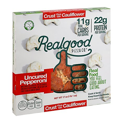 Real Good Food Co. Pizza Uncured Pepperoni Cauliflower Crust Frozen - 17 Oz
