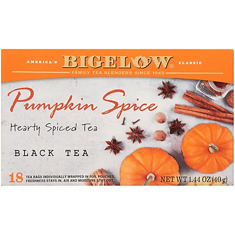 Bigelow Black Tea Bags Pumpkin Spice 18 Count - 1.44 Oz