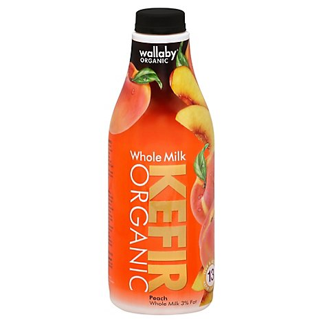Wallaby Kefir Whole Milk Peach Organic - 32 Oz