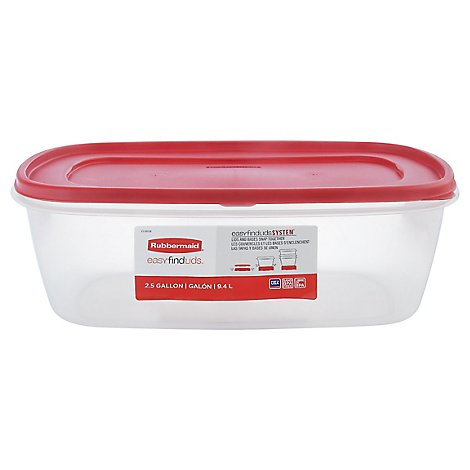 Rubbermaid Easy Find Lid Red Retangle 2.5 Gallon - Each