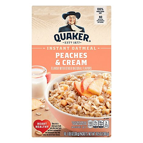 Quaker Instant Oatmeal Peaches & Cream - 10.5 Oz