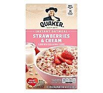 Quaker Instant Oatmeal Strawberries And Cream - 10.5 Oz