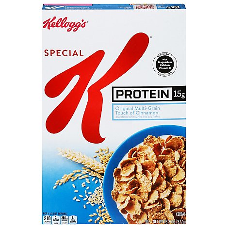 Kelloggs Special K Cereal Protein Original Multi Grain Touch Of Cinnamon - 13.3 Oz