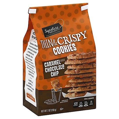 Signature SELECT Cookies Thin & Crispy Caramel & Chocolate Chip - 7 Oz