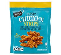 Signature SELECT Crispy Chicken Strips Fully Cooked Chicken Breast With Rib Meat Frozen - 25 Oz