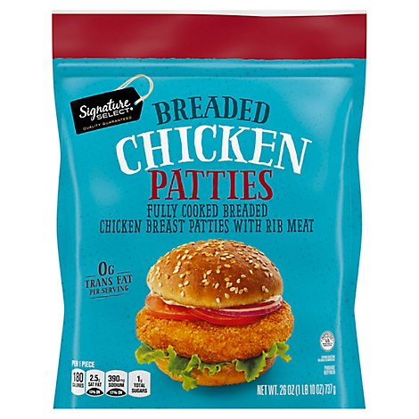 Signature SELECT Breaded Chicken Patties Chicken Breast Patties With Rib Meat Frozen - 26 Oz