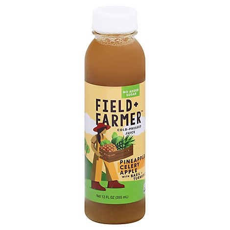 Field & Farmer Pineapple Basil Turmeric Juice - 12 Fl. Oz.