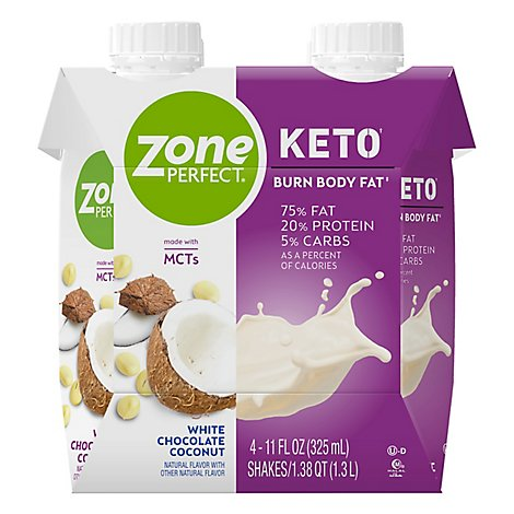 ZonePerfect Keto Shake Ready To Drink White Chocolate Coconut - 4-11 Fl. Oz.