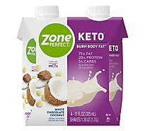 ZonePerfect Keto Shake Ready-to-Drink - White Chocolate Coconut - 4 - 11 fl oz