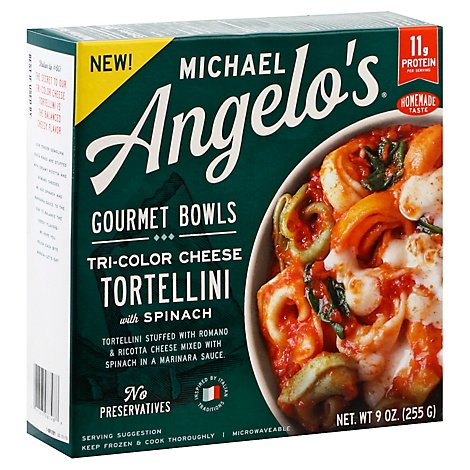 Michael Angelos Gourmet Bowls Tri Color Cheese Tortellini With Spinach - 9 Oz