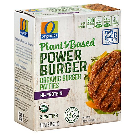 O Organics Organic Burger Patty Plant Based Power Burger Hi Protein - 2 Count