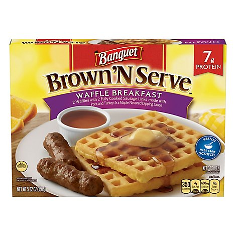 Banquet Brown N Serve Sausage With Waffle And Maple Sauce - 5.32 Oz