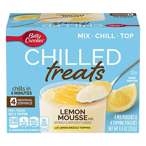 Betty Crocker Chilled Treats Mix & Topping Lemon Mousse With Lemon Drizzle - 8.9 Oz