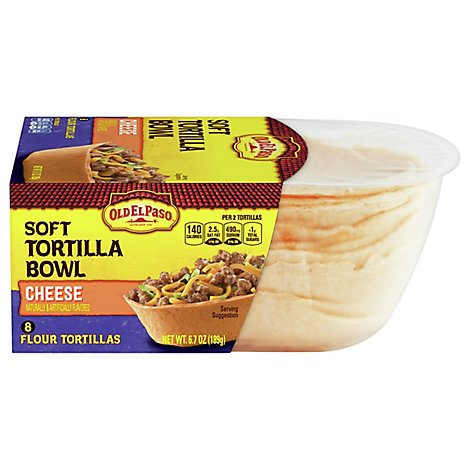 Old El Paso Tortilla Bowl Soft Flour Cheese 8 Count - 6.7 Oz
