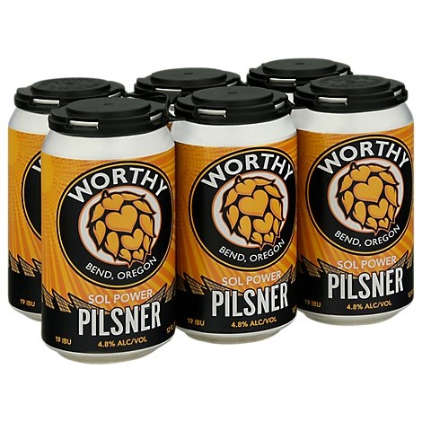 Worthy Sol Power Pilsner In Cans - 6-12 Fl. Oz.