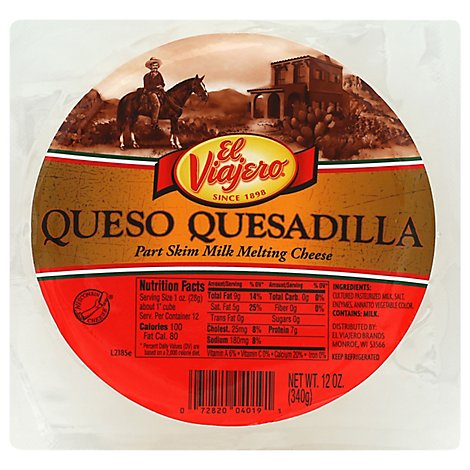 El Viajero Melting Cheese Part Skim Queso Quesadilla - 12 Oz