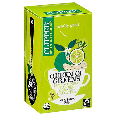 Clipper Organic Tea Bags Queen Of Greens Lime & Ginger 20 Count - 1.41 Oz