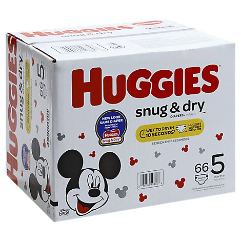 Huggies Snug & Dry Diapers Plus Wetness Indicator Size 5 - 66 Count