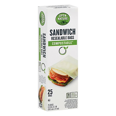 Open Nature Bags Sandwich Resealable Compostable - 25 Count