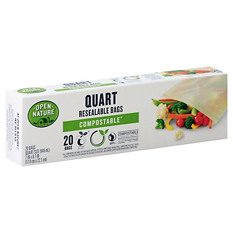 Open Nature Bags Resealable Compostable Quart - 20 Count