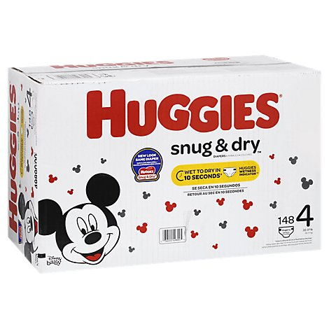 Huggies Snug & Dry Diapers Plus Wetness Indicator Size 4 - 148 Count