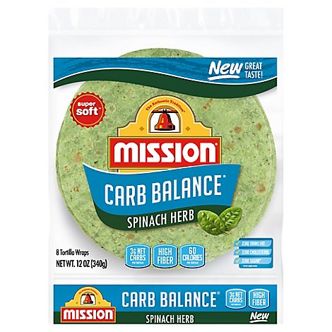 Mission Carb Balance Spinach Herb Tortilla - 8 Count