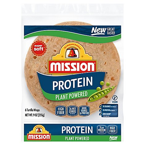 Mission Tortilla Wraps Protein Plant Powered Super Soft 6 Count - 9 OZ