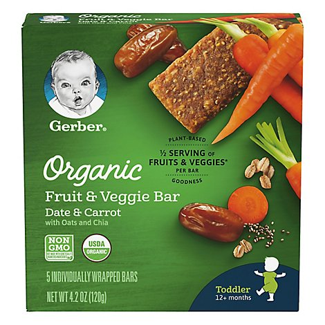 Gerber Organic Fruit & Veggie Bar Date & Carrot Toddler 12+ Months 5 Count - 4.2 Oz