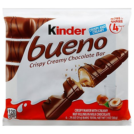 Kinder Bueno Chocolate Bar Crispy Creamy 4 Count - 3 Oz